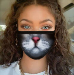 Cat Kitty Face Mask Girl Women Fun Cute Whiskers Reusable Face Mask  $8.99