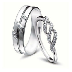 Real Diamond Rings 0.17 Ct Couples Valentine 14k White Gold Band Sets All Sizes