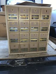 Nos Doninger Metal Products Mod 1500 Mailbox,rear Loading,16 Doors,brass Look