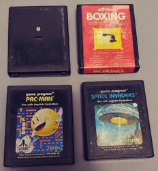 Lot Of 4 Vintage Atari 2600 Games Pac-man Boxing Space Invaders Bowling Used
