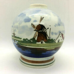 Delft Handpainted Holland Round Vase Windmill On Water