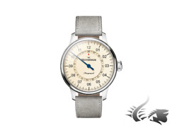 Meistersinger Perigraph Automatic Watch, Eta 2824-2, 43mm, Ivory, Grey Leather