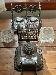Antique Cast Iron Tatumand039s Postal Ink Stands Letter Holders Ink Wells