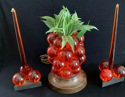 Vintage Lucite Grape Cluster Pineapple Lamp Candles Holders Mcm Night Light