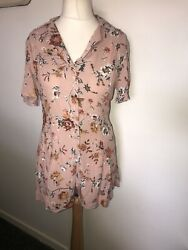 Top-shop Playsuit Size 10 Pink Floral Shorts All-in-one Immaculate