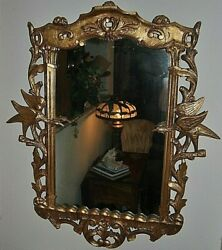 Gorgeous Antique Chippendale Style Gold Gilt Mirror Carved Detail