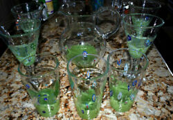 Lot Of 8 Amici Hand Blown Monet Glasses Goblets And Pitcher Set Millefiori