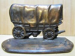 Antique Western Covered Wagon W H Howell Co Cast Iron Decorative Art Bookend