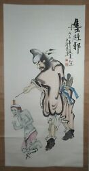 Japanese Monumental Scroll Watercolor And Ink On Paper Oni With Master Ca. 20th C.