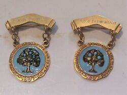 Pair Of 10k Solid Gold National Congress Of Parents And Teachers 2 Part Pins 8.6gm