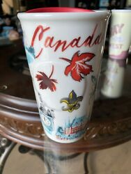 Nwt Starbucks Canada Leaves Ceramic Travel Double Wall Tumbler Red 12oz