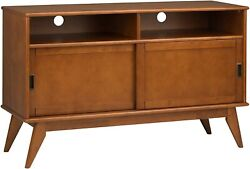 Draper 54 Inch Wide Tv Media Stand In Teak Brown For Tvs Up To 60 Inches New