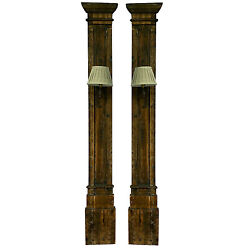 Salvage Wood Trim Pillar Molding Wall Sconce Lamp Sold As Pairs