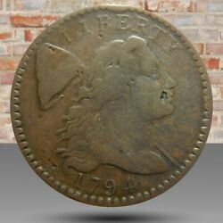 Large Cent/penny 1794 Sheldon 58 Choice Mid Grade Terminal Die State Cud