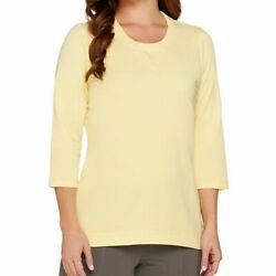 Denim And Co. Size 1x Yellow 3/4 Sleeve Knit Top With Hi-low Hem