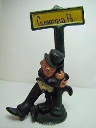 Clearfield Pa Old Cast Iron Souvenir Bottle Opener Figural Drunk On A Lamp Post