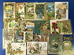20 Nice Gold Trim Antique Christmas Postcards, Posted. For Collectors W Value