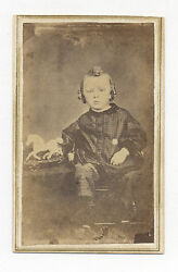 1860's Cdv Photo Child W/ American Painted Tin Toy Train And Tin Horse On Platform