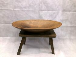 Antique Oval Carved Wood Trencher Dough Bowl - Primitive - X-large