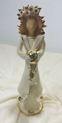 Andlsquopeaceandrsquo Earth 14.5andrdquo Angel Candelholder By Heather Goldminc Blue Sky Clayworks