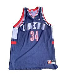 Vintage 90s Usa Made Uconn Basketball 34 Ray Allen Basketball Jersey Size Large