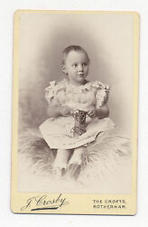 1885 Cdv Photo Tin Toy Train Engine French Or German, Held By Mildred Turley