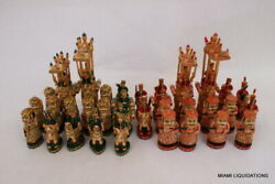 Exquisite Camelbone Chess Set Hand Painted King 7 India Vintage Collectible