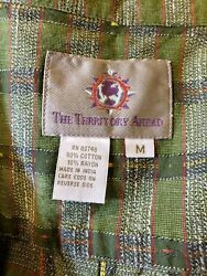 The Territory Ahead Ls Button Up Shirt Textured Green Multi Color Plaid Mens M