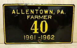 1961 1962 Allentown Pa Farmer License Plate Embossed Sign Farm Truck Tractor