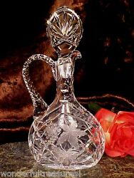 Beautifl Vintage 60's 70's Crystal Glass Handle Decanter Grapes Flowers Germany