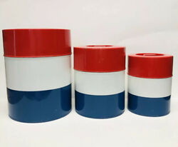 Vintage Patriotic Red White Blue Nesting Tin Canisters Japan