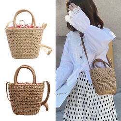Handmade Straw Weave Bucket Shoulder Bags Women Summer Beach Female Travel Totes $13.05