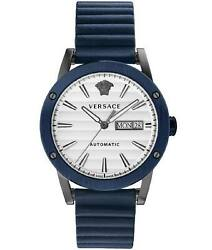 Versace Theros Men's Automatic Watch Day Date Blue Pvd