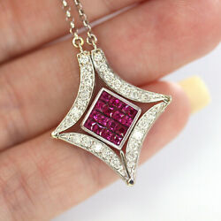 1.5 Ctw Natural Red Princess Ruby And Diamond Solid 14k White Gold Star Necklace