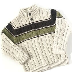 Janie And Jack Boys Sweater Cable Knit Size 4T Beige Green Brown Stripe EUC $19.99