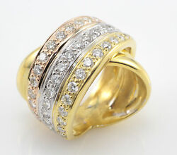 18k Petros And Takis Diamond Tri-tone Cross Over Band Ring Size 6-1/4