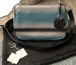 Rare Designer Christian DIOR Dune Ombre Blue Leather Gorgeous Crossbody Hand Bag $1,800.00