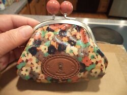 NWOT Fossil Key-Per Coated Canvas Floral Kiss Lock Change Purse $22.00