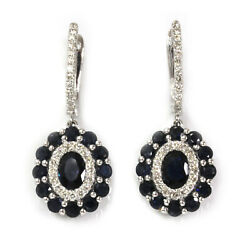 4.8 Ctw Natural Blue Sapphire And Diamond 14k White Gold Halo Drop Dangle Earrings
