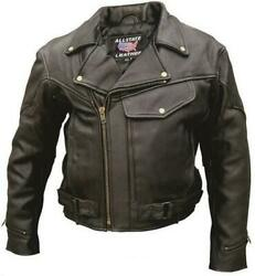 Mens Vented Leather Motorcycle Jacket With Hook And Loop Side Straps