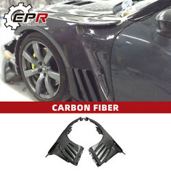 For Nissan Gtr R35 08-16 Epa Style Carbon Fiber Front Fender With Louver Fin Kit