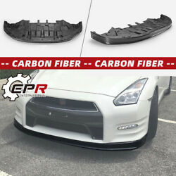 For Nissan R35 12-16 Gtr Oe-style Carbon Fiber Front Bumper Lip With Under Tray