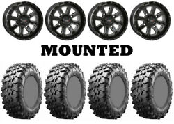 Kit 4 Maxxis Carnivore Tires 28x10-14 On System 3 St-4 Gloss Black Wheels Irs