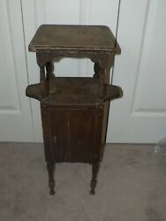 Antique Vintage H T Cushman Vermont Smoking Stand Table Arts Crafts 1800's