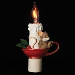 Charming Tails Flicker-flame Sleeping Mouse Electric Night Light By Roman