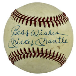Yankees Mickey Mantle Best Wishes Authentic Signed Oal Baseball Jsa X40056