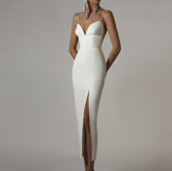 NEW! DESIGNER CONSERVATIVE WHITE BANDAGE DRESS ELEGANT DRESS SLIT THIN STRAP $165.00
