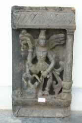 Handcrafted Antique Wall Panel Lord Vishnu Wood Hand Carving Rare Unique Home