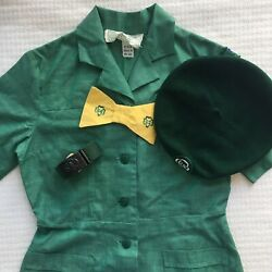 Vintage 1960s Girl Scout Uniform Size 8 With Beret And Belt Retro Scouting K-1002