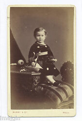 1875 Cdv Photo, R. W. Wade W/ Pond Boat Toy And Painted Wood German Top W/ Handle